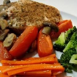Roasted Pork Chops with Tomatoes, Mushrooms, and Garlic Sauce Recipe