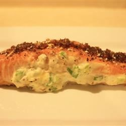Sara's Soy Marinated and Cream Cheese Stuffed Salmon