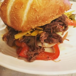 slow cooker italian chuck roast with peppers and onions printer