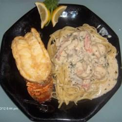 Broiled Lobster + Shrimp&Mushroom linguini
