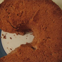 Aerial view of chocolate angel food cake