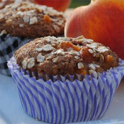 Spiced Peach Oatmeal Muffins