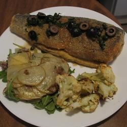 pan fried trout/roasted cauliflower/potatoes