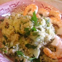 Coriander Tabbouleh Salad with Shrimp Recipe