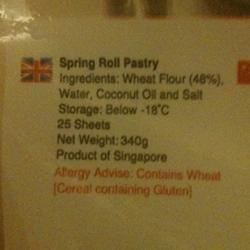 Spring Roll Pastry Ingredients