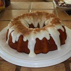 Holiday Pumpkin Cake with Rum-Cream Cheese Glaze Recipe