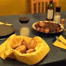potroast & garlic bread