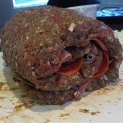 Meatloaf Roll Stuffed w/ Ham & Pepperoni