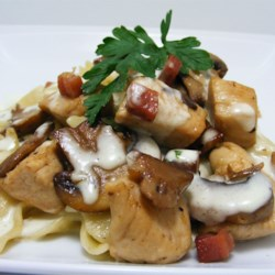 Chicken and Bowtie Pasta with Asiago Cream Sauce Recipe