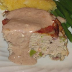 Thanksgiving Turkey Meatloaf Close Up Plated with Gravy
