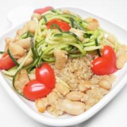 Zucchini Noodle and Cannellini Bean Quinoa Bowl