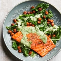 Healthy high blood pressure recipes eatingwell roasted salmon with smoky chickpeas greens forumfinder Gallery