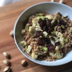 Instant Pot® Warm Vegetarian Farro Salad with Cauliflower, Pistachios, and Cranberries