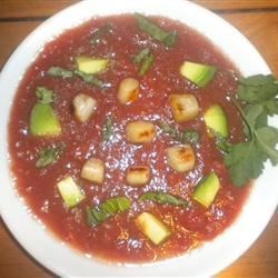 Chilled Tomato Soup with Seared Scallops, Avocado, and Ripped Basil Recipe