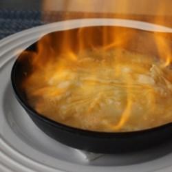 flaming greek cheese saganaki printer friendly