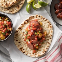 Allrecipes food friends and recipe inspiration flatbread sandwiches with hillshire farmr smoked sausage and watermelon salsa recipe smoked forumfinder Images