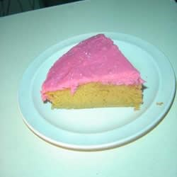 With pink eggnog frosting.