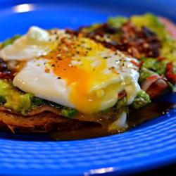 avocado toast with crumbled crispy pancetta printer friendly