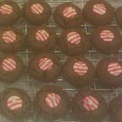 Photo of Double Chocolate-Candy Cane Kiss Cookies by Traci