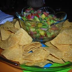 Chips and Avocado mango salsa