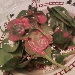Photo of Spinach and Goat Cheese Salad with Beetroot Vinaigrette by Nikki Miller