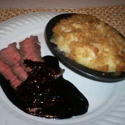 Flat Iron Steak with Balsamic Reduction and Potato Au Gratin