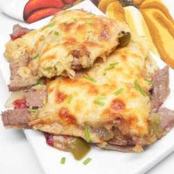Philly-Cheesesteak Shepherd's Pie with Spaghetti Squash Topping