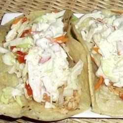 Photo of Tilapia Fish Tacos with Red Pepper-Lime Slaw and Blue Cheese Aioli by Age Of Taurus