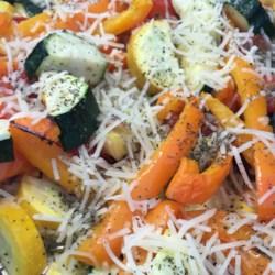 roasted garlic zucchini and tomatoes printer friendly