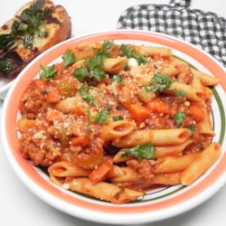 turkey bolognese with penne printer friendly