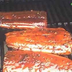 Firecracker Grilled Salmon on the grill