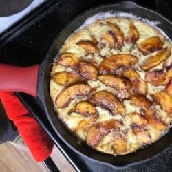 baked pancake with peaches printer friendly