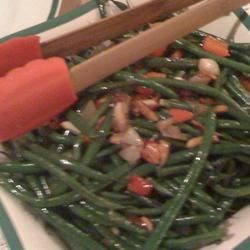 green beans with almonds and caramelized shallots photos