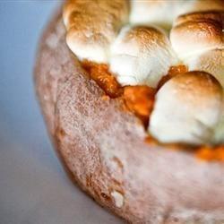 Twice-Baked Sweet Potatoes With Mini Marshmallows