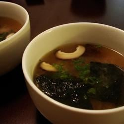 Japanese Soup with Tofu and Mushrooms