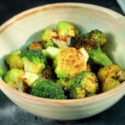 air fryer roasted broccoli and cauliflower printer friendly