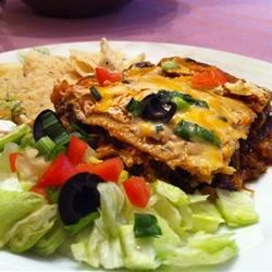 Photo of Layered Chicken and Black Bean Enchilada Casserole by DEBMCE4