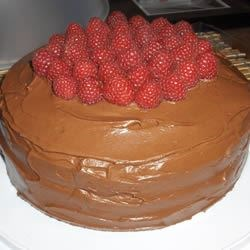 Hershey's Perfectly Chocolate Cake with fresh raspberries