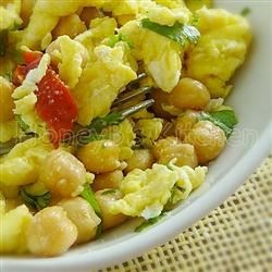 Garlicky Scrambled Eggs with Chickpeas and Cilantro