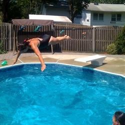 teaching Sammy to dive