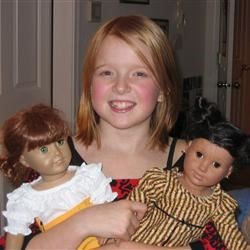 Megan and her American Girl dolls
