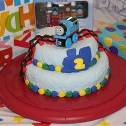 My son's Thomas birthday cake I made him