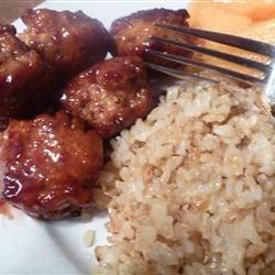 Chicken meatballs in Raspberry chipotle sauce