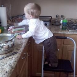 """Sam """"helping"""" me in the kitchen"""
