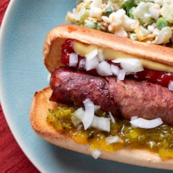 Fried Bacon Wrapped Hot Dog
