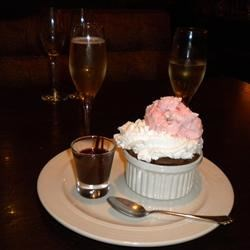 chocolate and champagne with whipped cream