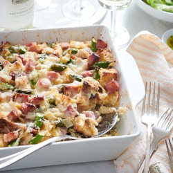 Ham, Asparagus, and Goat Cheese Strata