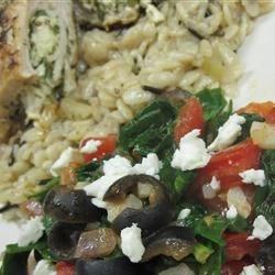 Greek stuffed chicken with spinach saute'