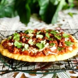 keto fathead pizza with chorizo and salsa printer friendly