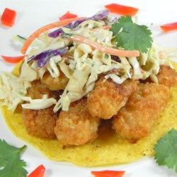 Fish Tacos with Honey-Cumin Cilantro Slaw and Chipotle Mayo